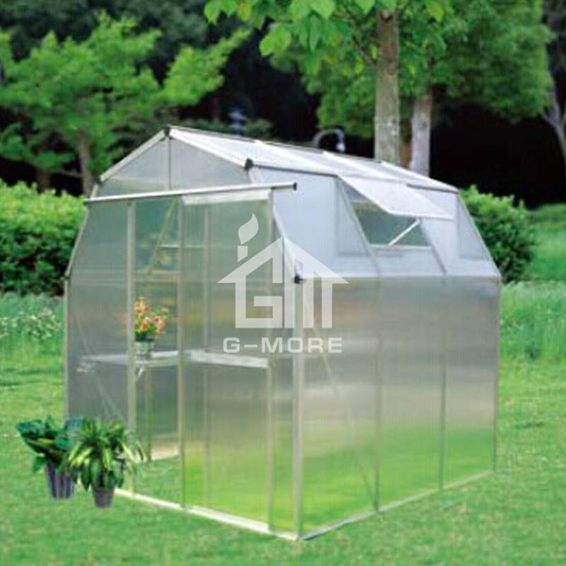 216x216cm Barn Style Greenhouse Structure 6mm Thick PC Greenhouse Garden
