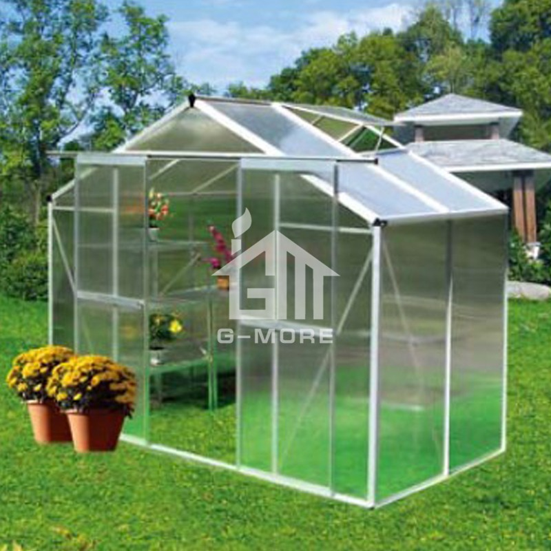 8'x8' Aluminum Greenhouse Manufacturer G-MORE Traditional Series Aluminum/Polycarbonate Hobby Greenhouse