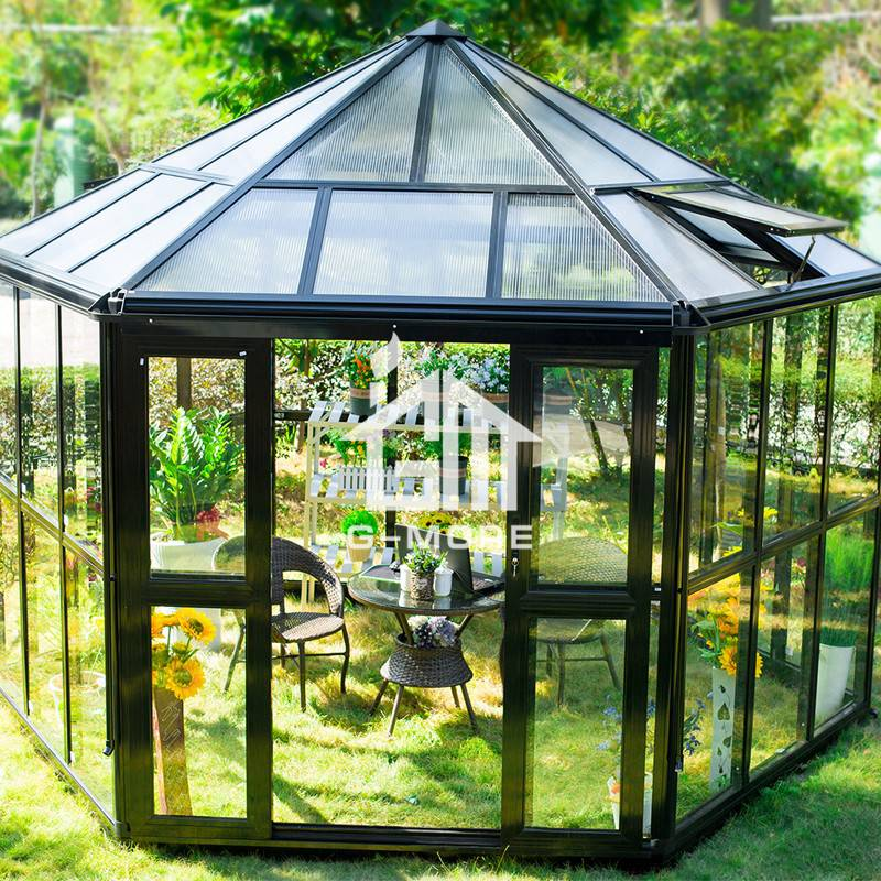 12.8'x11.3' G-more Hexagon Series Heavy Duty Garden Glass Greenhouse-GM36002