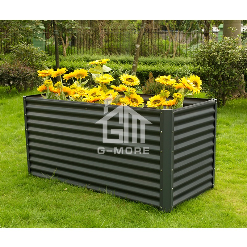 G MORE 90X180 CM Wholesale Grey Rectangular Vegetable Gardening Metal  Raised Garden Beds